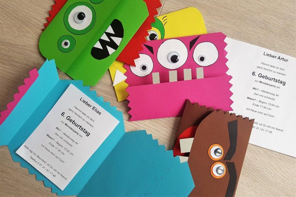 einladungskarten basteln für die monsterparty - mama geht